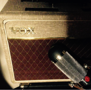 VOX AC15 TBR owned by Wow & Flutter Audio in Oswestry, Shropshire. The mic is an AEA ribbon mic, part of the company's impressive mic collection for recording bands, singers, acoustic musicians and choirs